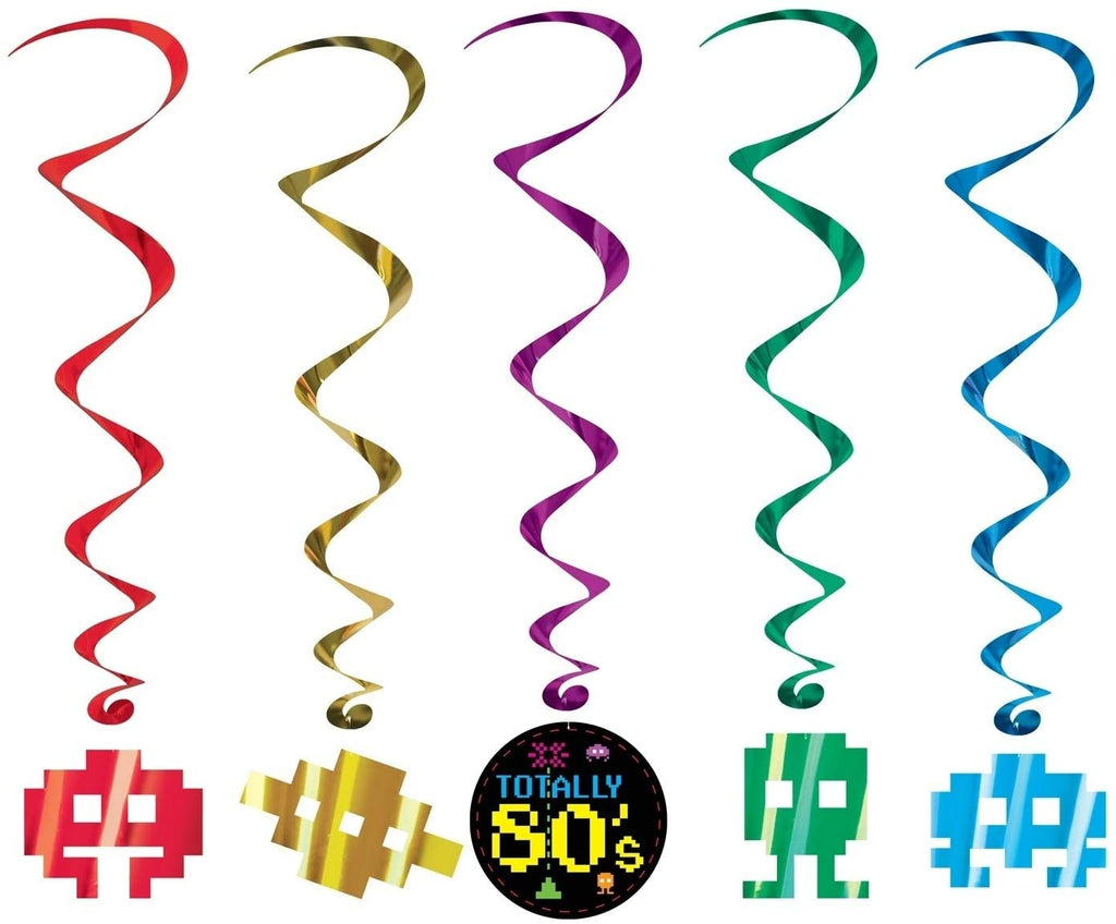 "34"" 3'4"" Theme 80's Hanging Whirls Party Decoration 6 Pack (5/pkg) Color Modern Contemporary Paper"