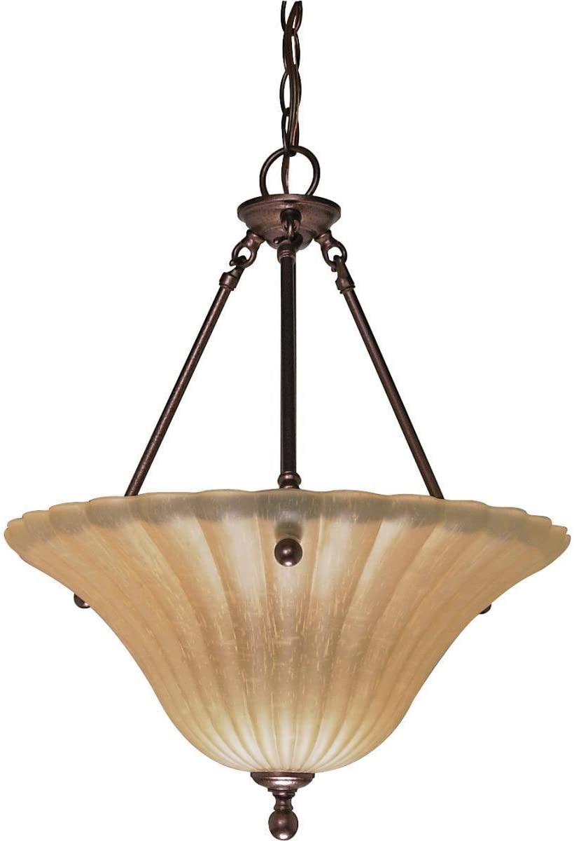 "3 Light Pendant Diameter 16 00"" Height 21"" Brown Transitional Metal"