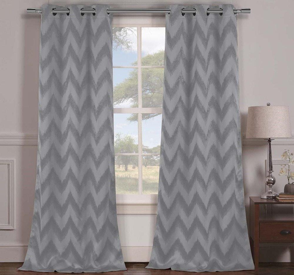 Silver Grey Chevron Window Curtain Set 84 Inch Zig Zag Panels Pair V Shaped Pattern Polyester Gray Colour Vibrant Modern Stylish Zigzag Blackout