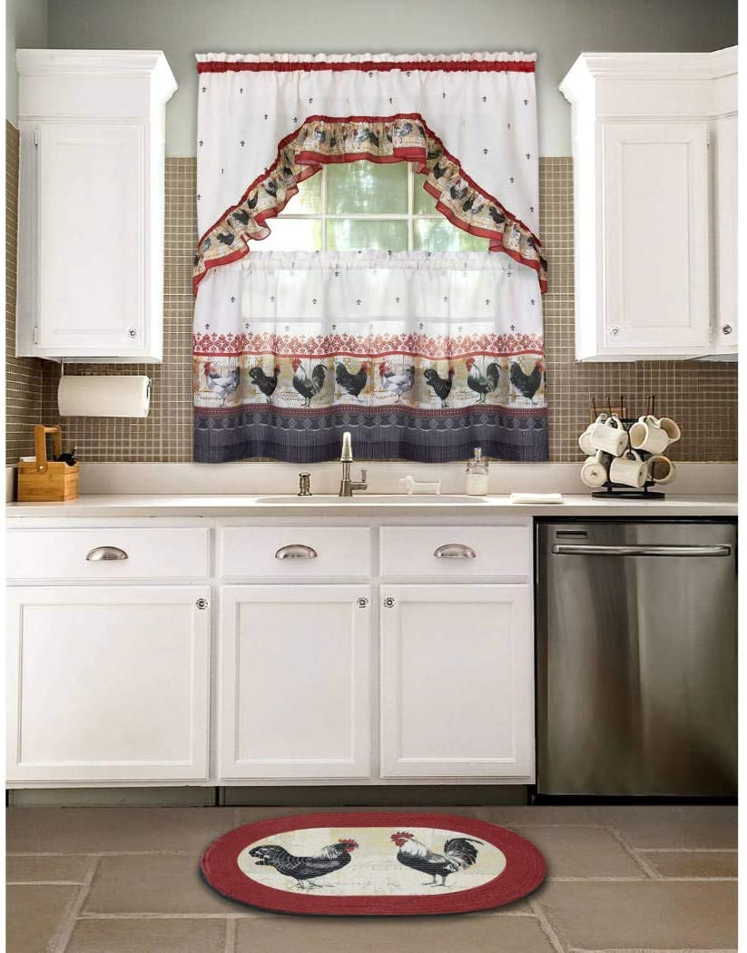 Burgundy Grey Rooster Kitchen Tiers Swag Set 57 X 36 Inch Red Color Chicken Kitchen Curtains Log Cabin Lodge Cottage Motif Window Treatment Morning