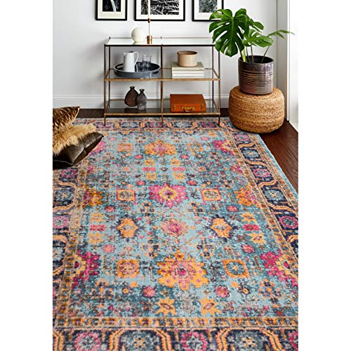 "Teal Transitional Area Rug 3'8"" X 5'6"" Blue Geometric Graphic Oriental Bohemian Eclectic Cabin Lodge Rectangle Polypropylene Contains Latex"