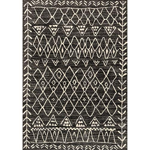 "Moroccan Geometric Abstract Rug (3'10 X 5'7) 3'10"" 5'7"" Black Grey Ivory Tribal Cabin Lodge Farmhouse Rectangle Polypropylene Synthetic Latex Free"