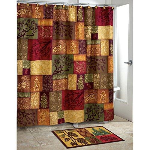 Golden Red Green Color Patchwork Pattern Shower Curtain Elegant Check Mosaic Design Autumn Themed Polyester Colorful Motif Pattern