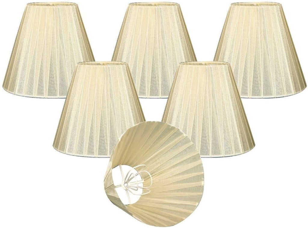 "Eggshell Empire Chandelier Lamp Shade 3"" X 6"" 4 5"" Clip Set 6 Cream Modern Contemporary"