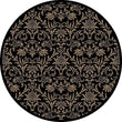 "Global Jewel Damask Black Round Rug 5'3"" X Floral Botanical Transitional Polypropylene Latex Free Non Slip"