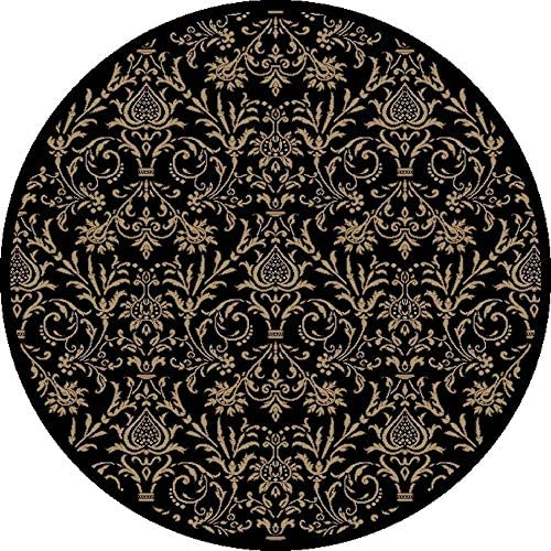 Global Jewel Damask Black Round Rug 5'3
