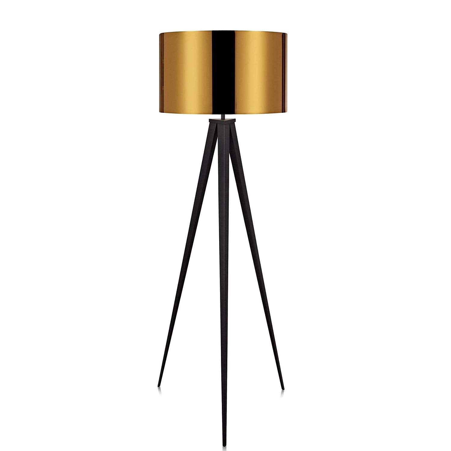 "Gold Tripod Floor Lamp 60"" Cordless 3 Leg Reading Lamp Large Standing Lamp Modern Contemporary Living Room Iron Metal"