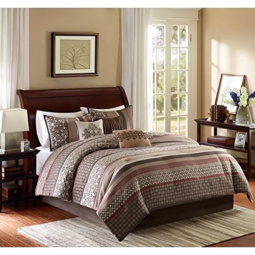 Ivory Red Jacquard Embroidery Comforter Cal King California Set Brown Adult Bedding Master Bedroom Modern Stylish Intricate Geometric Damask Pattern