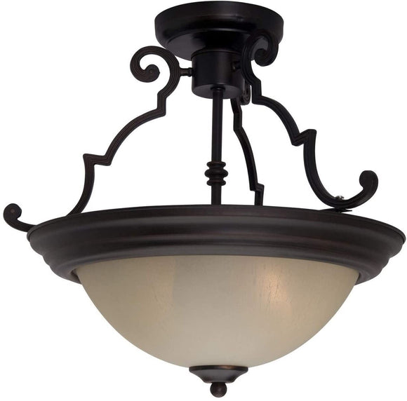 584x Bronze Iron 2 Light Semi Flush Mount Transitional Metal
