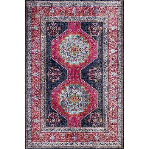 "Dark Blue Transitional Area Rug 3'8"" X 5'6"" Geometric Graphic Oriental Bohemian Eclectic Cabin Lodge Rectangle Polypropylene Contains Latex"