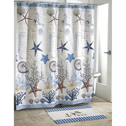 Kids Blue Grey Sea Life Beach Themed Shower Curtain Ocean Blue Detailed Starfish Coral Sea Shell Printed Polyester Color Sea Life Seahorses Printed