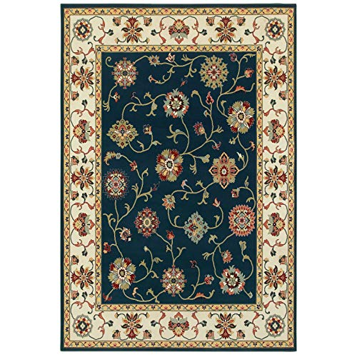 "MISC Timeless Borders Traditional Area Rug 6'7"" X 9'6"" Blue Oriental Polypropylene Contains Latex Stain Resistant"