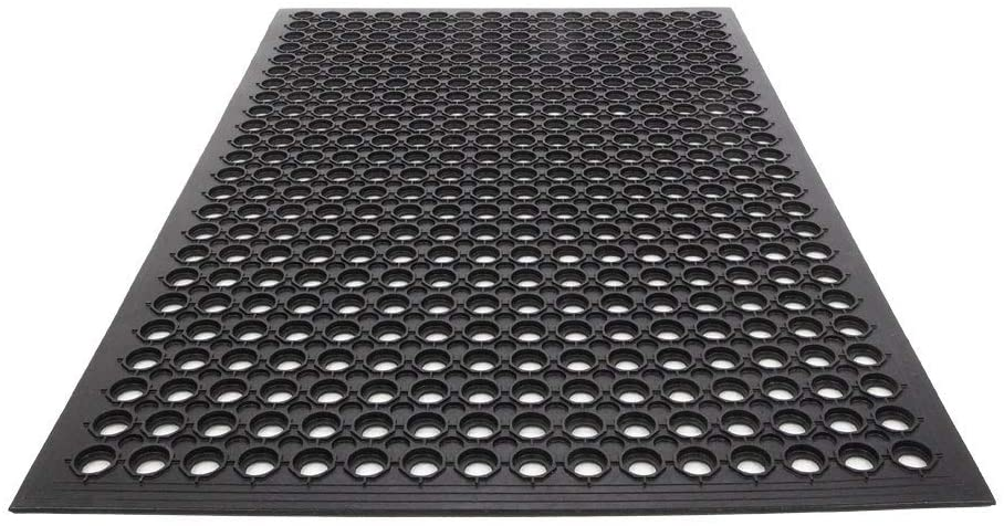 MISC Bar Kitchen Industrial Rubber Non Slip Hexagonal Mat 60x90cm 6090cm Black Classic Rectangle Polyester Latex Free
