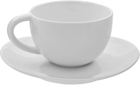 Royal Oval 10 Ounce Cup Saucer (Set 6) White Solid Casual Round Porcelain 6 Piece Dishwasher Safe Microwave