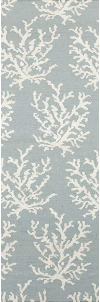 "MISC Hand Woven Hornet Powder Blue Wool Area Rug 2'6"" X 8' Runner Abstract Latex Free Handmade"