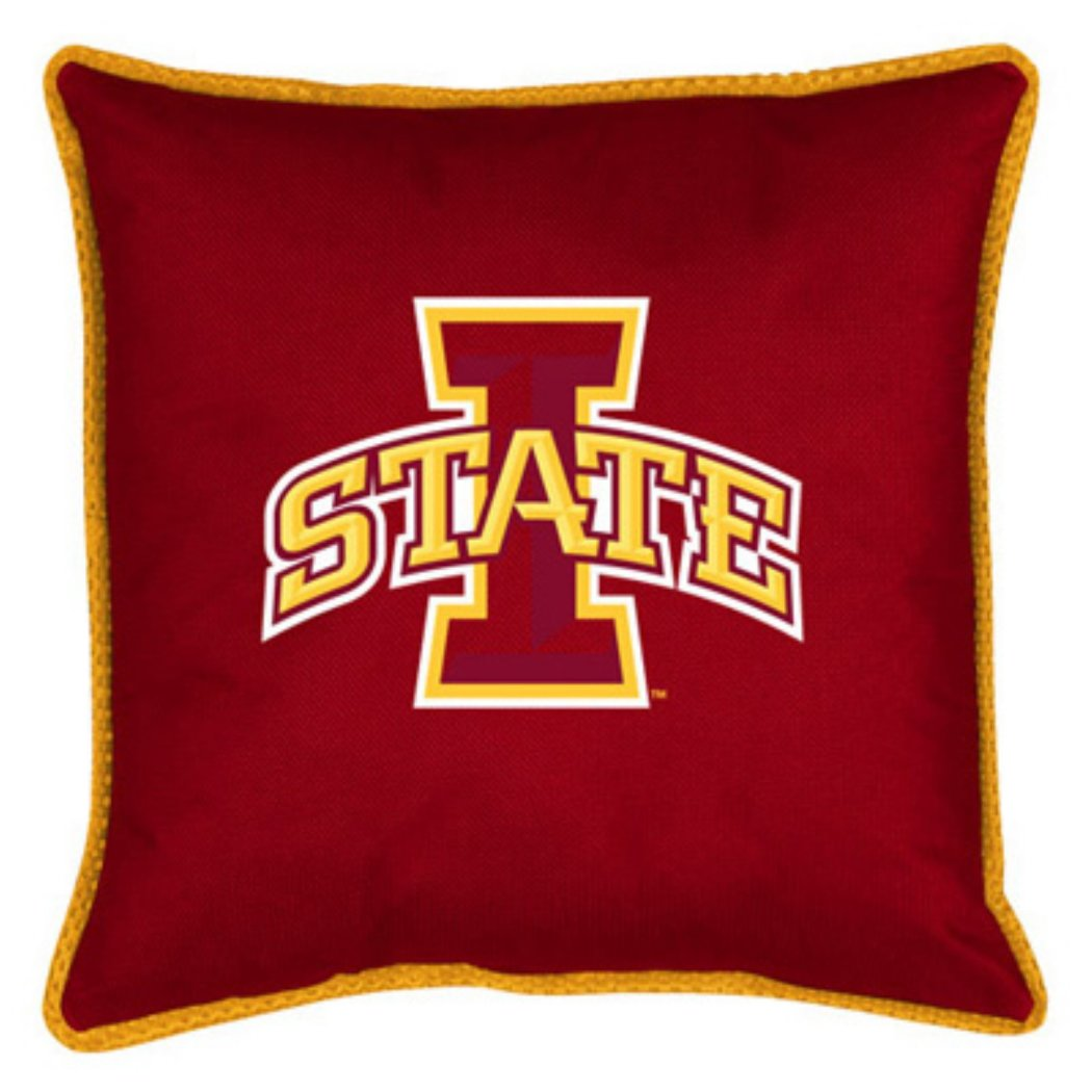 "NCAA Cyclones Theme Throw Pillow 17""x17"" Red Gold Collegiate Football Themed Sofa Toss Pillow Sports Pattern Team Logo Fan Merchandise Athletic Team - Diamond Home USA"