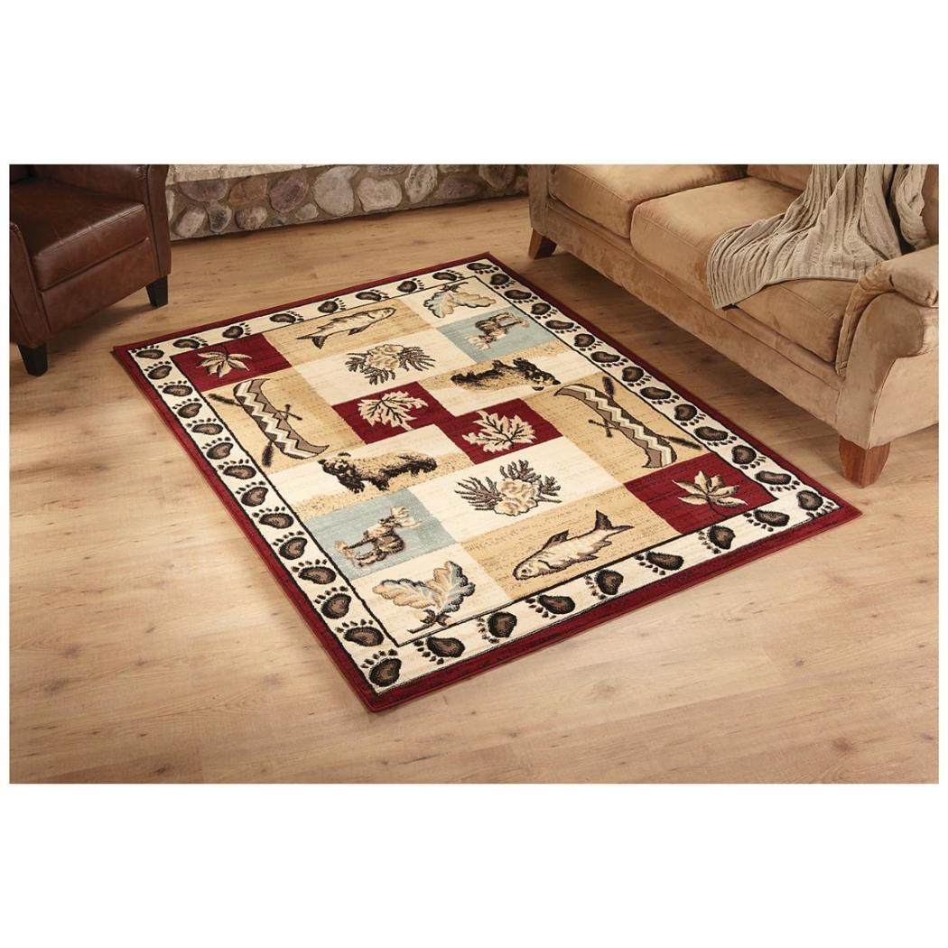Bear Fish Deer Area Rug Wildlife Themed Carpet Patchwork Hunting Pattern Canoes Pine Cones Leaves Elk Prints Southwest Log Cabin Lodge Cottage Living - Diamond Home USA