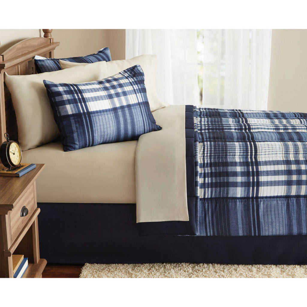 Plaid Checked Comforters Set Sheets Checkered Gingham Ljack Madras Pattern Modern Adult Bedding
