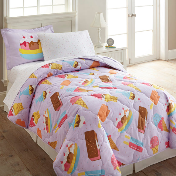 Kids Brown Purple Candy Themed Comforter Twin Set Sweet Treats Bedding Ice Cream Deserts Sundae Popsicles Parfait Icecream Cones Pink Blue - Diamond Home USA