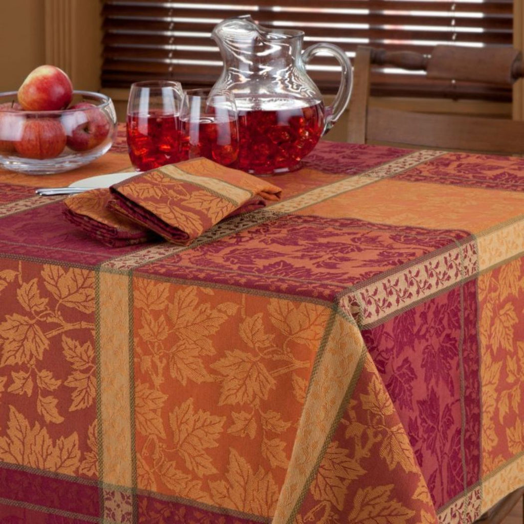 Oblong Plaid Tablecloth Fall Theme Table Cloth Cabin Lodge Leaf Pattern Block Horizontal Vertical Stripes Thanksgiving Jacquard