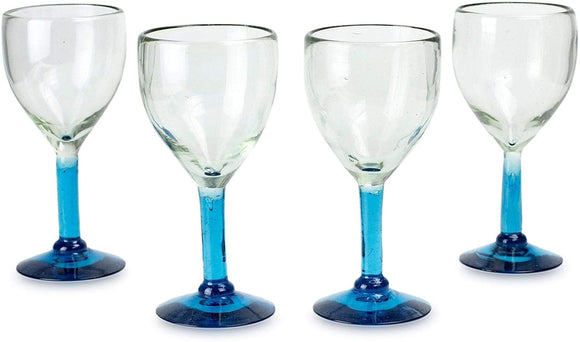 Caribbean Blown Glass Goblets Set 4 Glasses 3 5