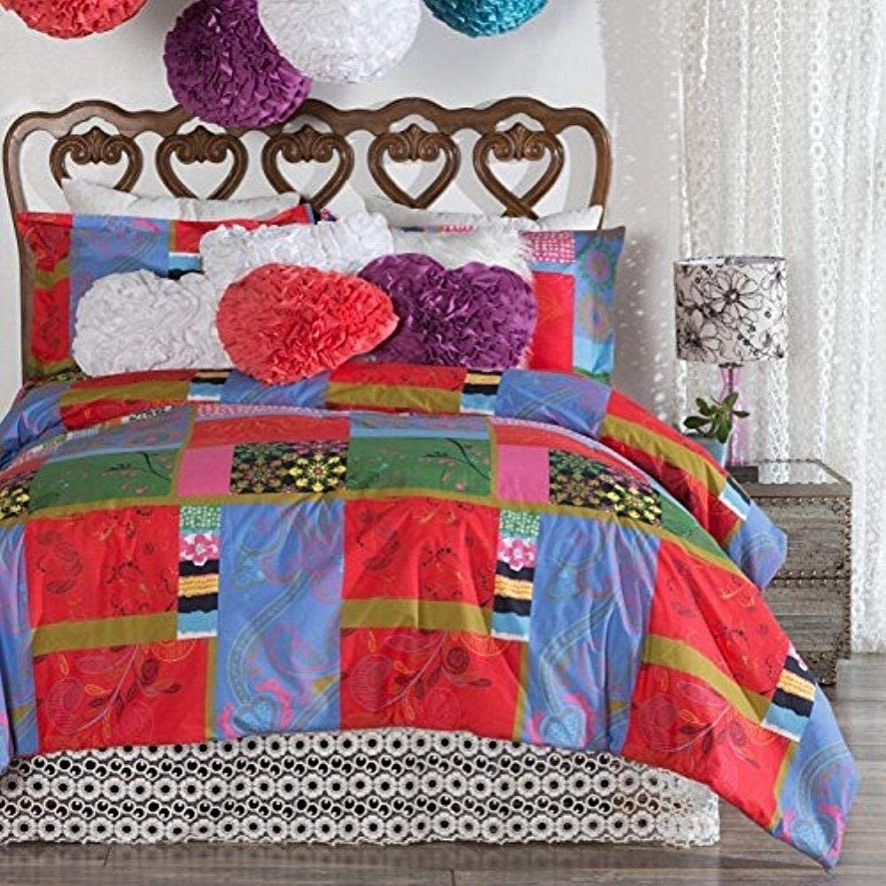 Full/Queen Size Patchwork Cotton 3 Piece Comforter Set Red Bohemian Eclectic 3 Piece