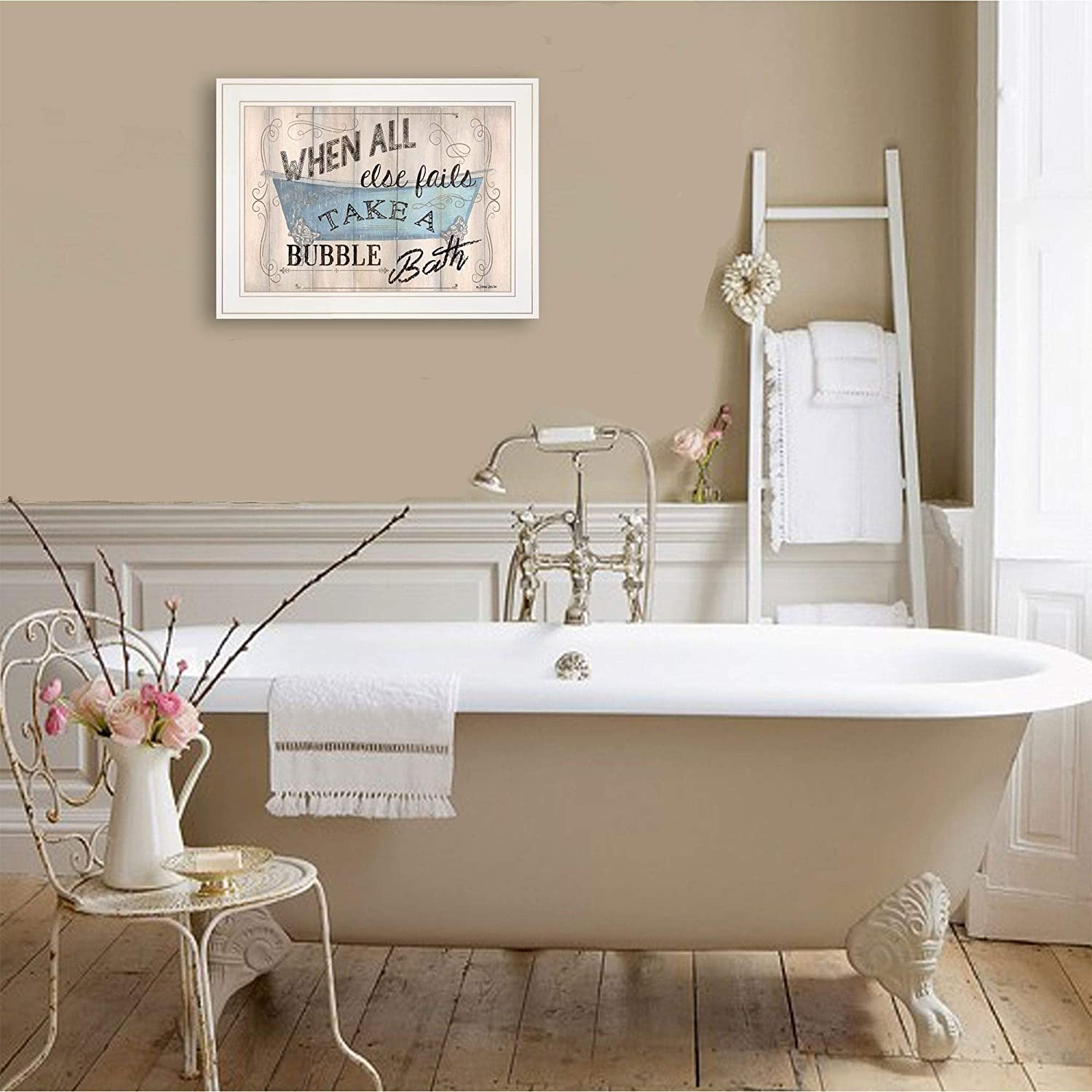 Bathroom Humor Dewitt Ready Hang Framed White Frame Modern Contemporary Rectangle Made USA