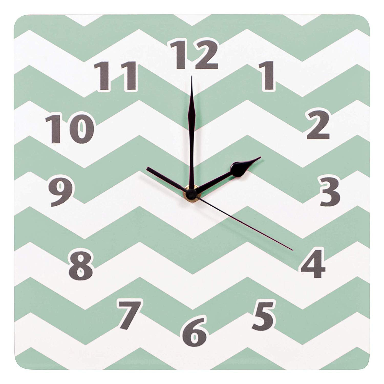 "1 Piece 11"" X 11"" White Green Kids Chevron Themed Wall Clock Aqua Blue Zig Zag Pattern Nursery Wall Decor Stripe Baby Room Childrens Home"