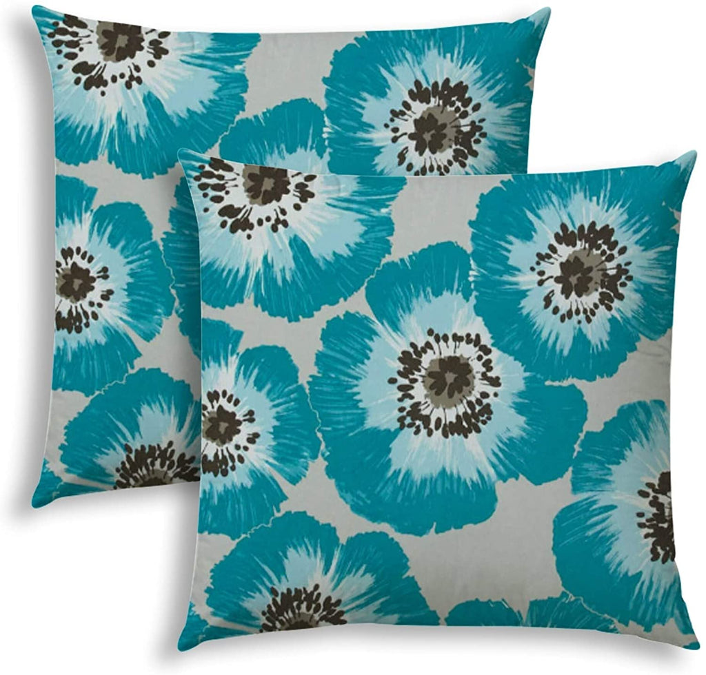 Pop Poppies Aqua Indoor/Outdoor Pillows Sewn Closure (Set Two) Color Floral Modern Contemporary Polyester Water Resistant