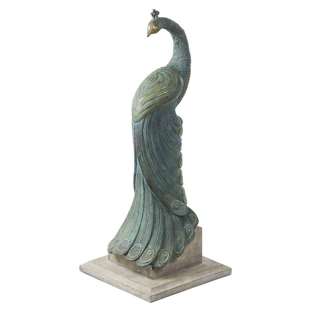 34 Inch Peacock Statue Outdoor Bird Sculpture Stunning Animal Themed Home Decor Garden Patio Yard Green Polyresin 34in