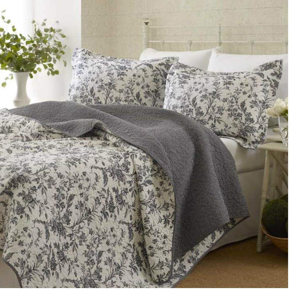 Black Floral Bedspreads Quilt Set Bedroom Comfort 100% Cotton King