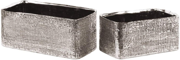 Electroplated Ceramic Rectangular Planter Set Two Silver Silver