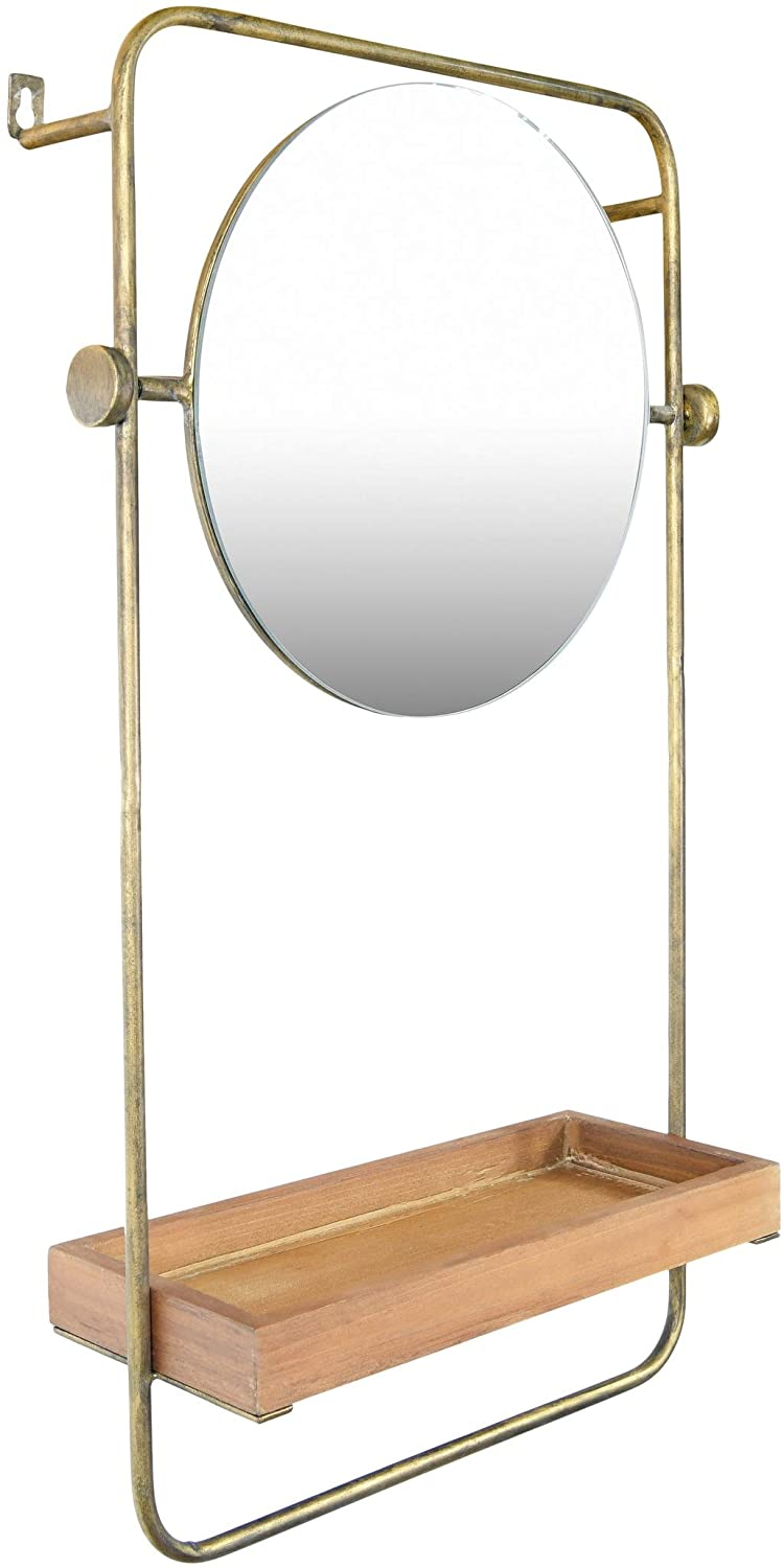 "27 25"" h Metal Wall Mirror Wood Shelf Towel Bar Distressed Gold Bohemian Eclectic"