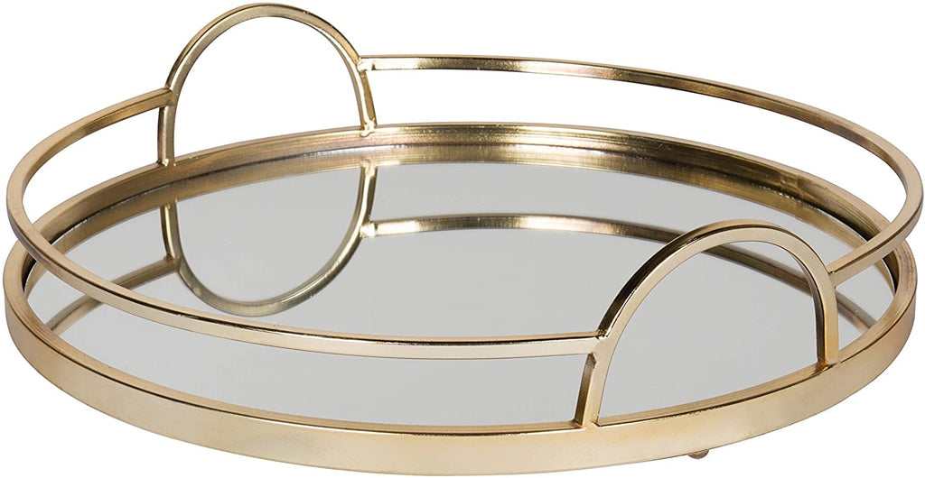Gold Metal Mirrored Round Decorative Tray Modern Contemporary Glass