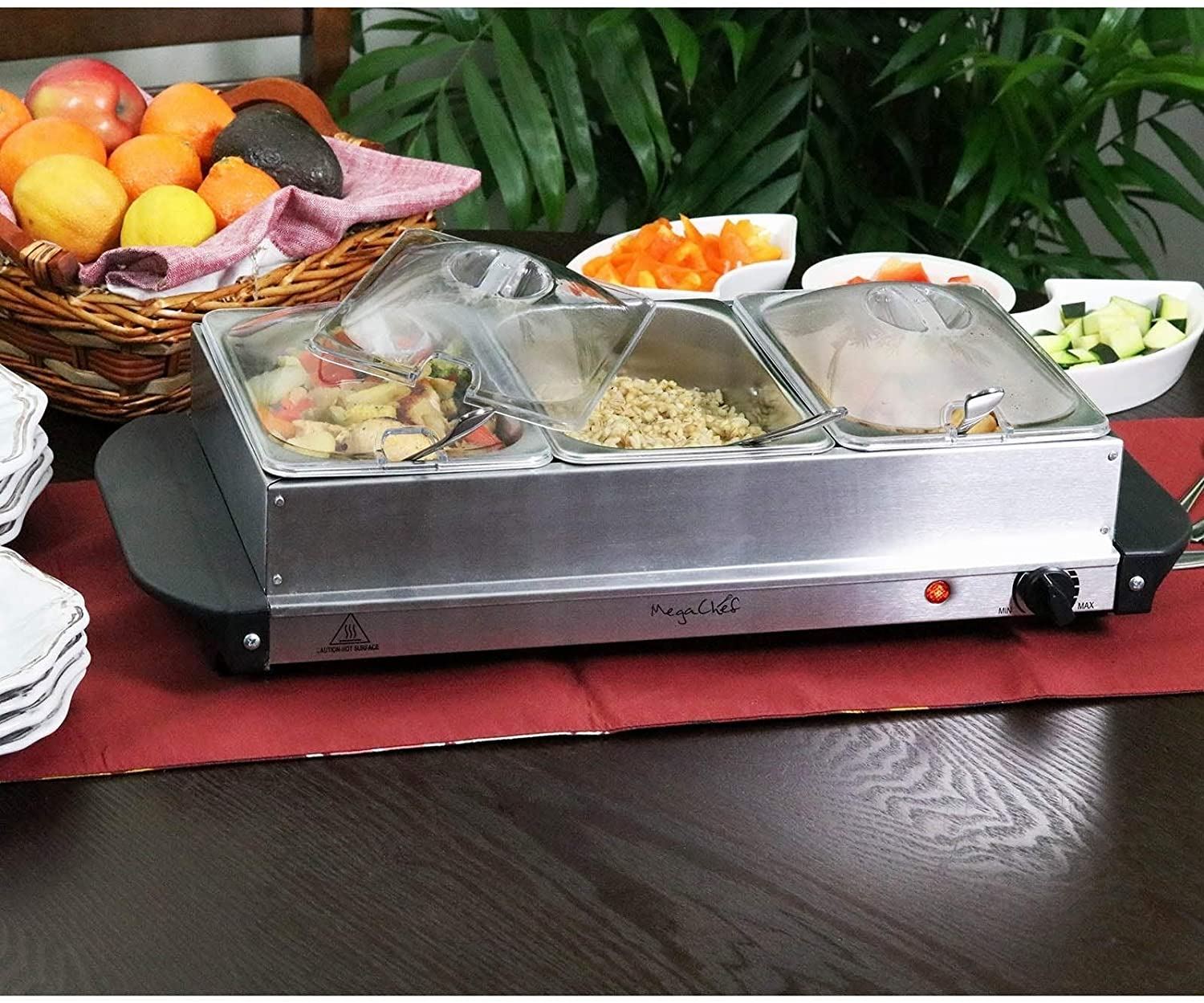 Buffet Server Food Warmer 3 Sectional Trays Silver Variable Temperature Control