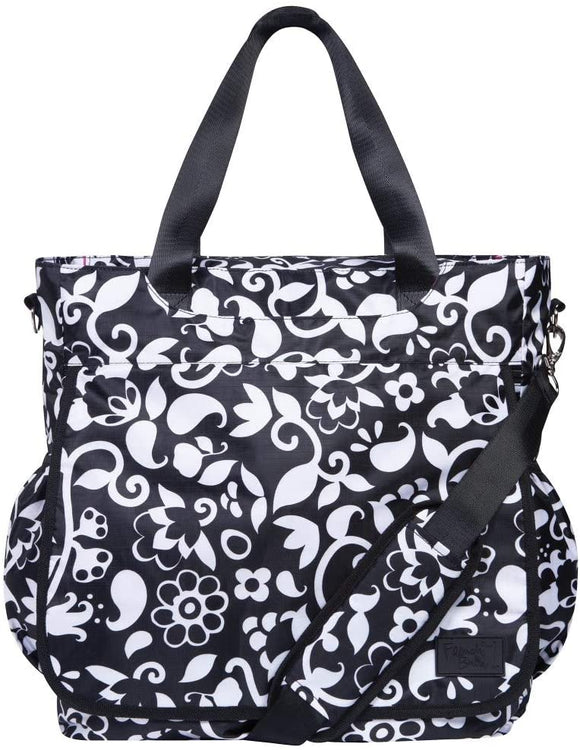 MI 1 Piece Black White Large Damask Diaper Bag Babies Baby Nursery Tote Backpack Carrier Floral Flower Vine Pattern Design Roomy Changing Pad Zippered