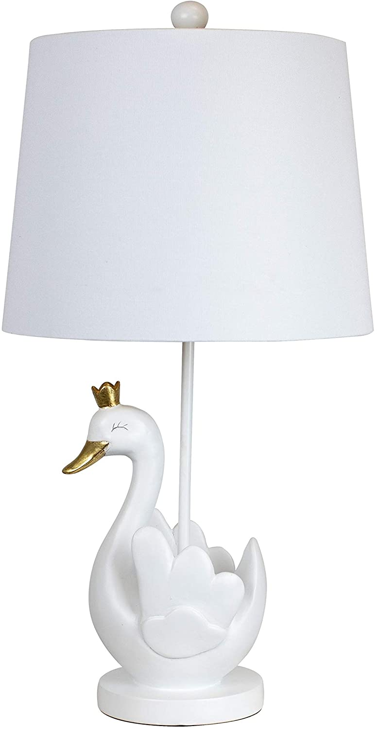 "24 75"" Matte White Swan Gold Leaf Table Lamp W/Fabric Drum Shade 24"" Modern Contemporary"