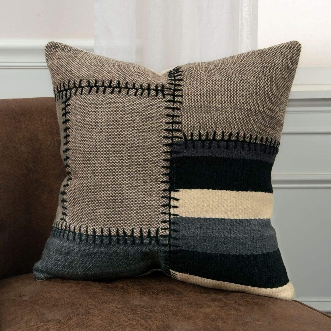 MISC Pillow Cover Black Abstract Casual Wool