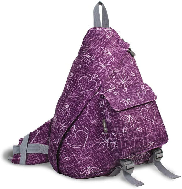 Purple Love Letter 'Kitten' 19 inch Sling Backpack Graphic Polyester Compartment
