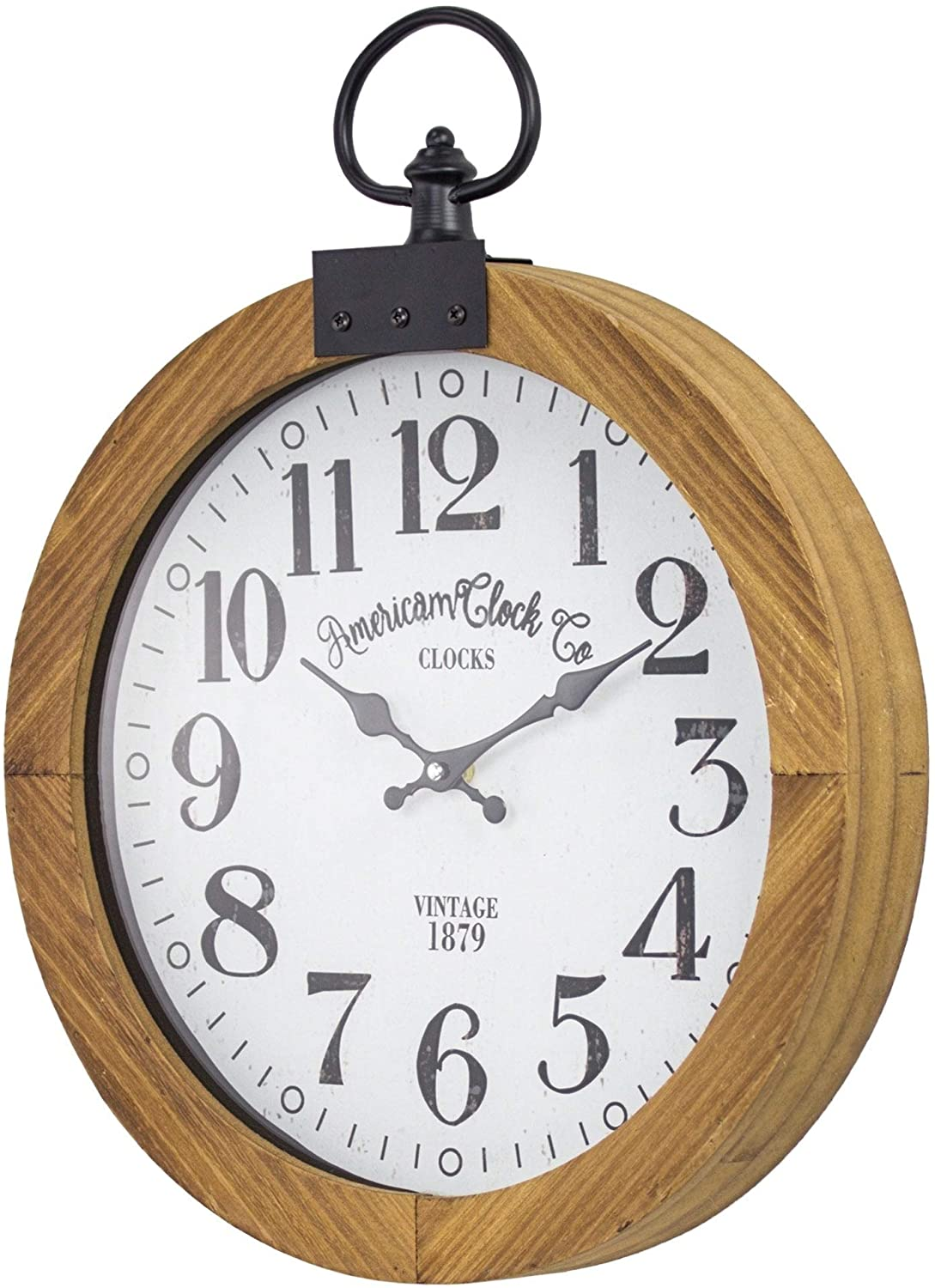 "American Clock Co Pocket Watch Wall 20"" White Metal Plastic Wood"