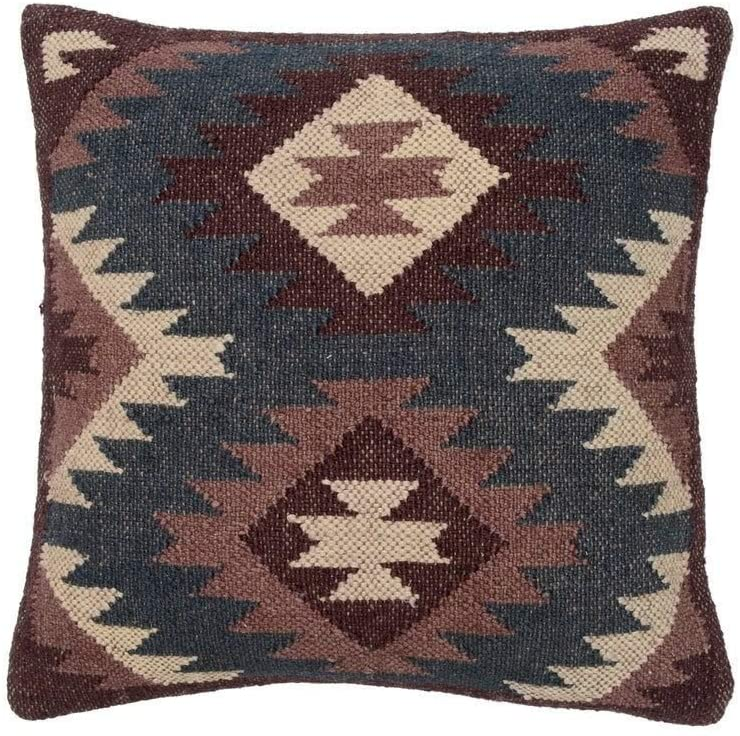 "Handmade 20"" Throw Pillow Set 2 (India) Blue Geometric Traditional Jute Wool Two Pillows"