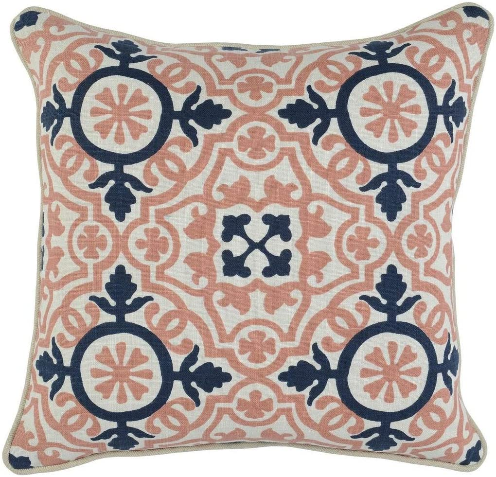 MISC 100% Cotton 18 inch Throw Pillow Blue Pink Single Removable Cover