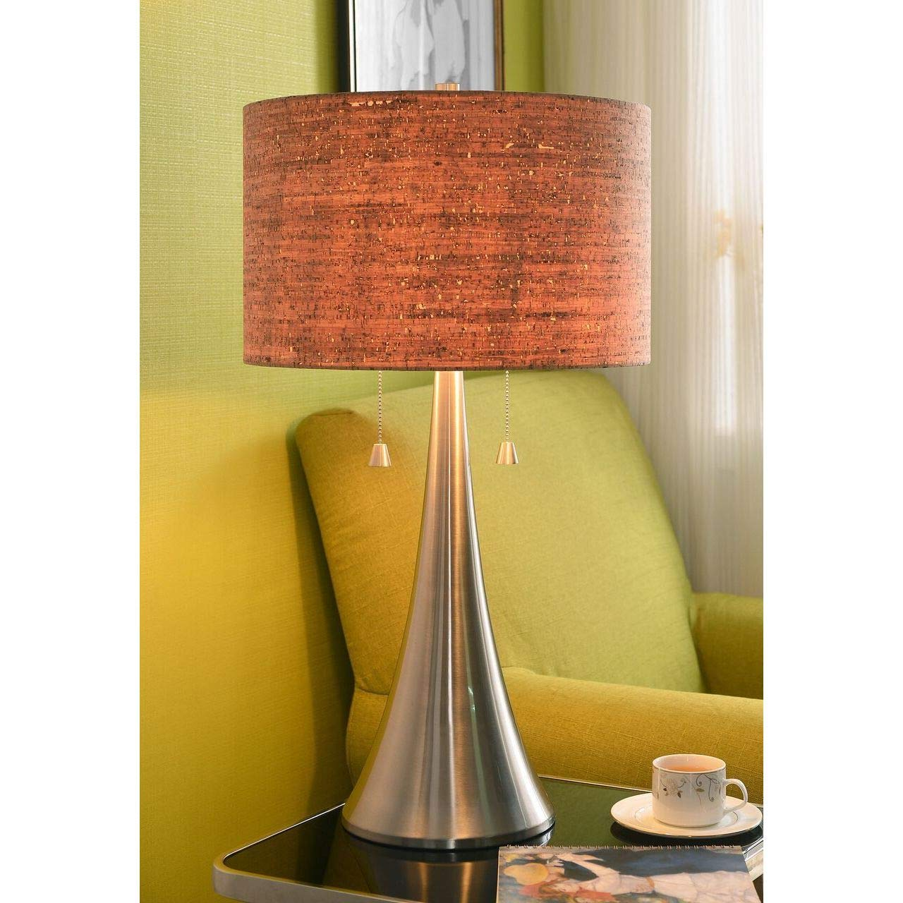 Brown Cork Table Lamp Stainless Steel Desk Light Natural Modern Shade Home Decor Lighting Metal