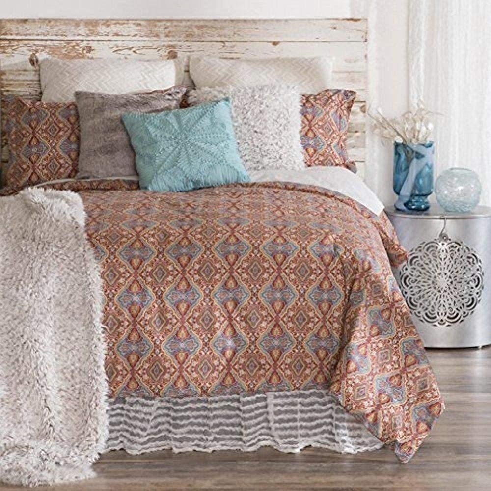 Full/Queen Size Cotton 3 Piece Comforter Set Orange Damask Bohemian Eclectic 3 Piece