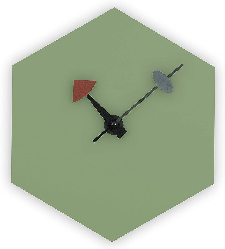 Diamond Silent Non Ticking Wall Clock Green Mid Century Modern Contemporary Novelty Wood Finish Minute Hand