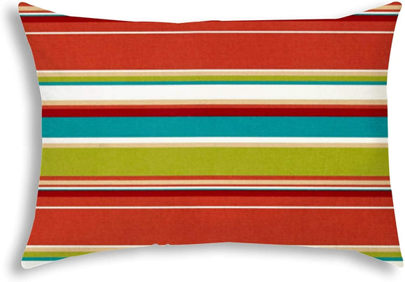 Indoor/Outdoor Pillow Sewn Closure Color Striped Modern Contemporary Polyester Water Resistant