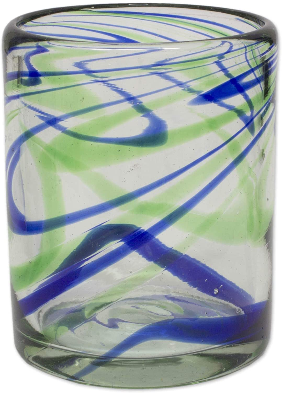 Handmade Emerald Green/Cobalt Blue Glass Elegant Energy Juice Glasses (Set 6) (Mexico) Green