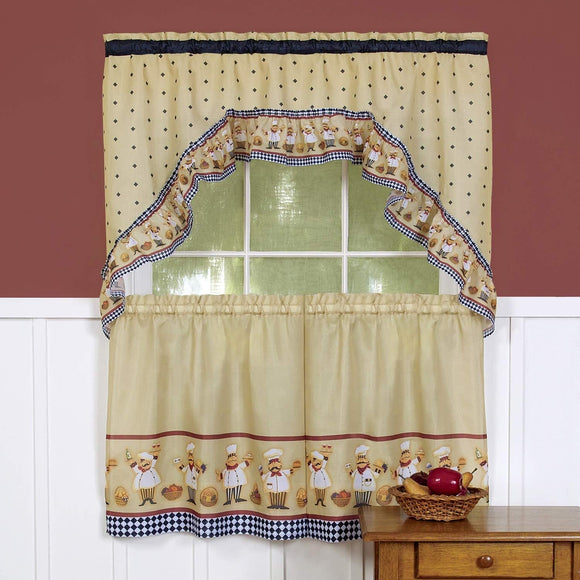 Unknown1 Traditional Two Piece Tailored Tier Swag Window Curtains Set Happy Chef 36 Inch Color Check Casual Polyester