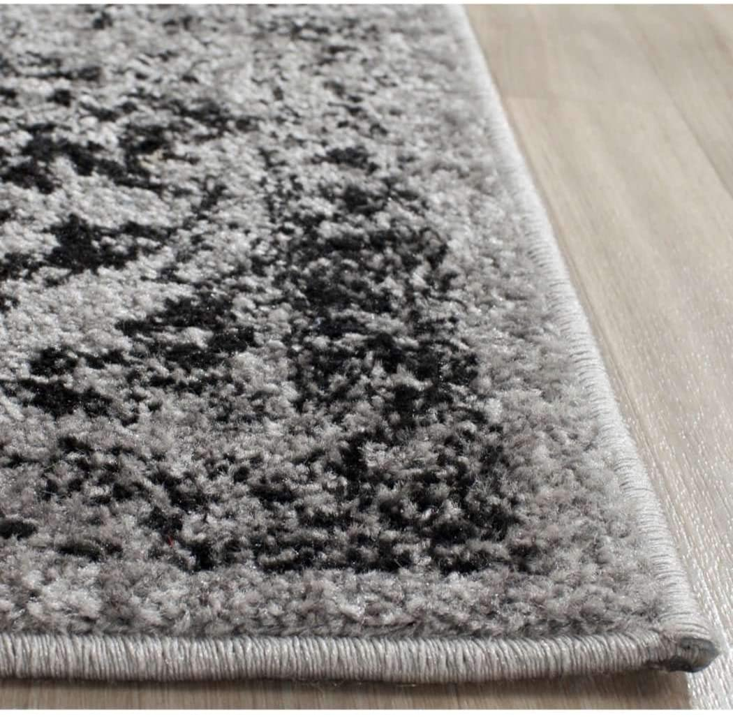DH 3'x5'ft Neutral Grey Black Gray Unique Oriental Patterned Distressed Vintage Area Rug Indoor Bohemian Living Room Mat Rectangle Carpet