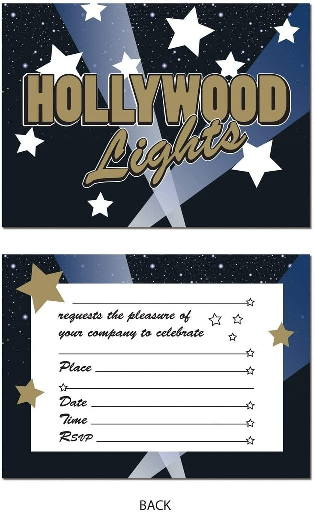 "4"" X 5 5"" Awards Night Hollywood Lights Party Invitations 12 Pack (8/pkg) Color Modern Contemporary Paper"
